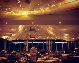 ceiling draping and fairy lights