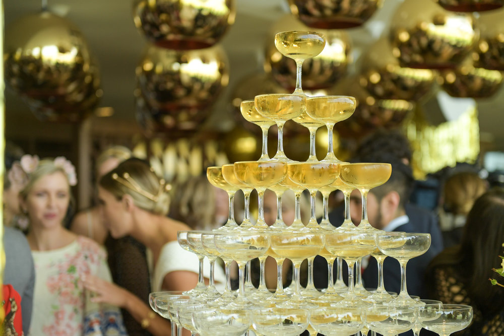 Filled champagne tower