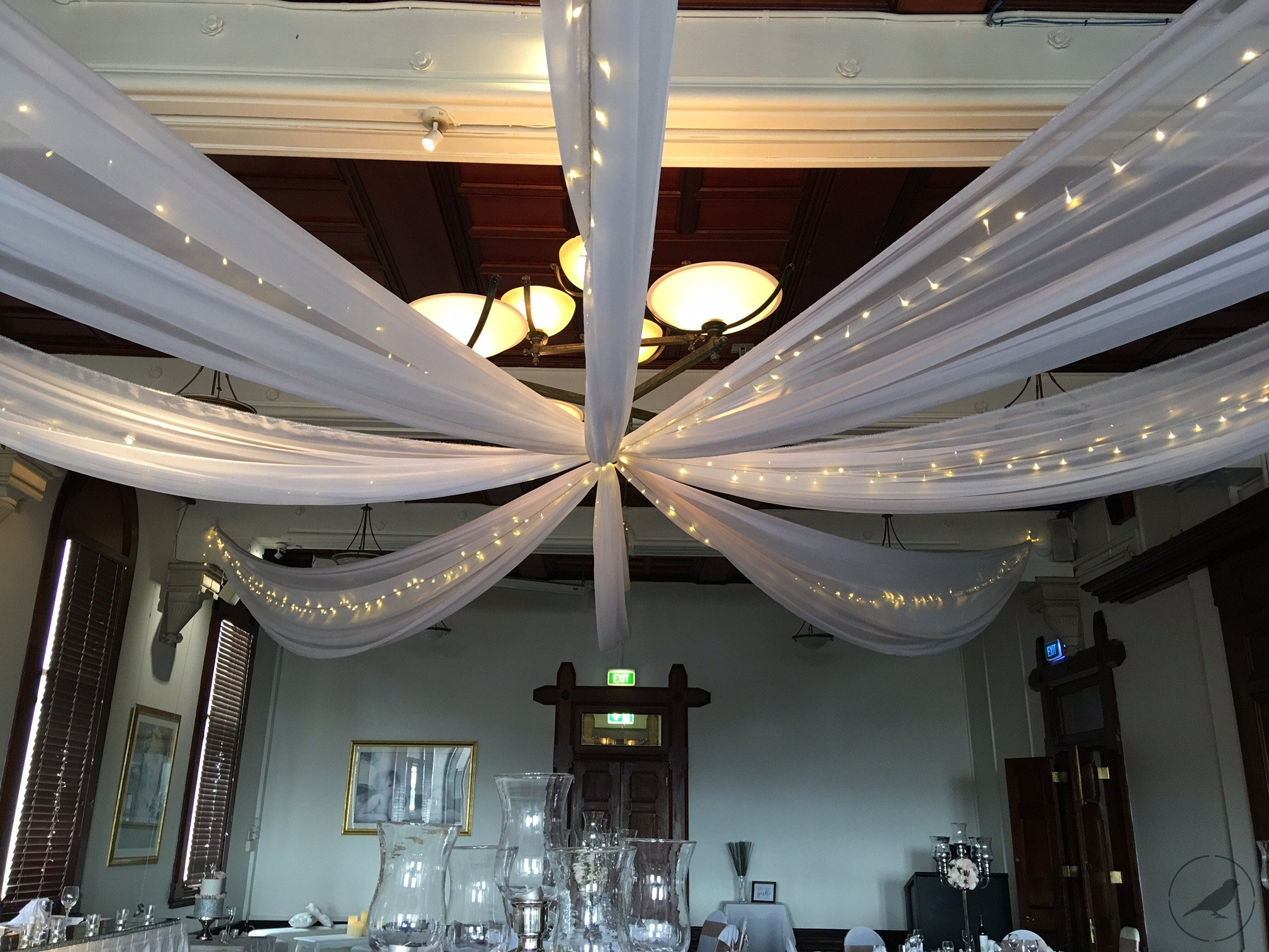 Ceiling Draping and fairy lights Ceiling Draping